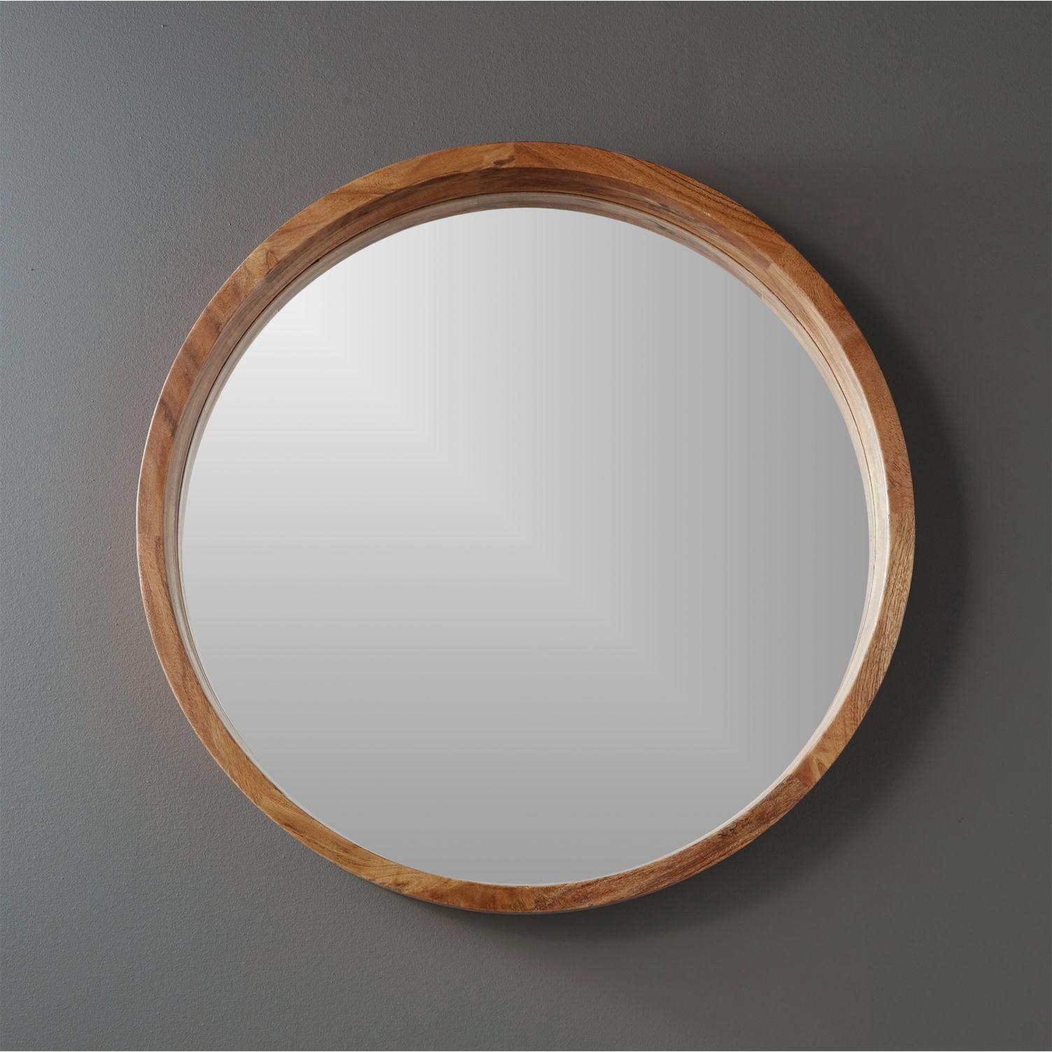 Round acacia wood wall mirror
