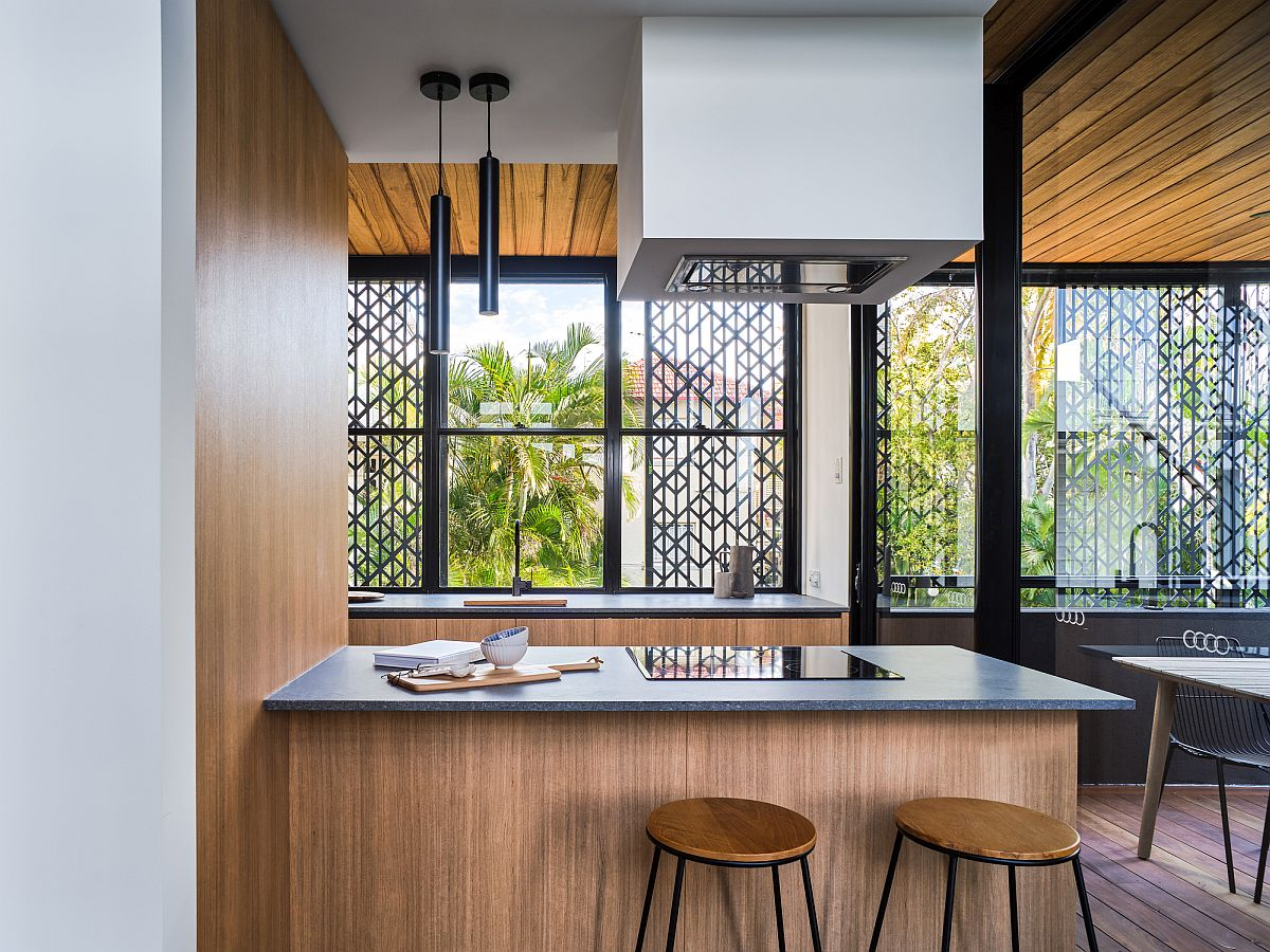 Small kitchen with twin counters and lovely natural ventilation