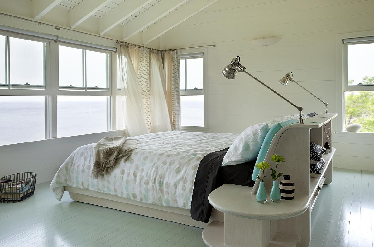 Smart and elegant modern bedroom with painted pastel green floor at its gentle best