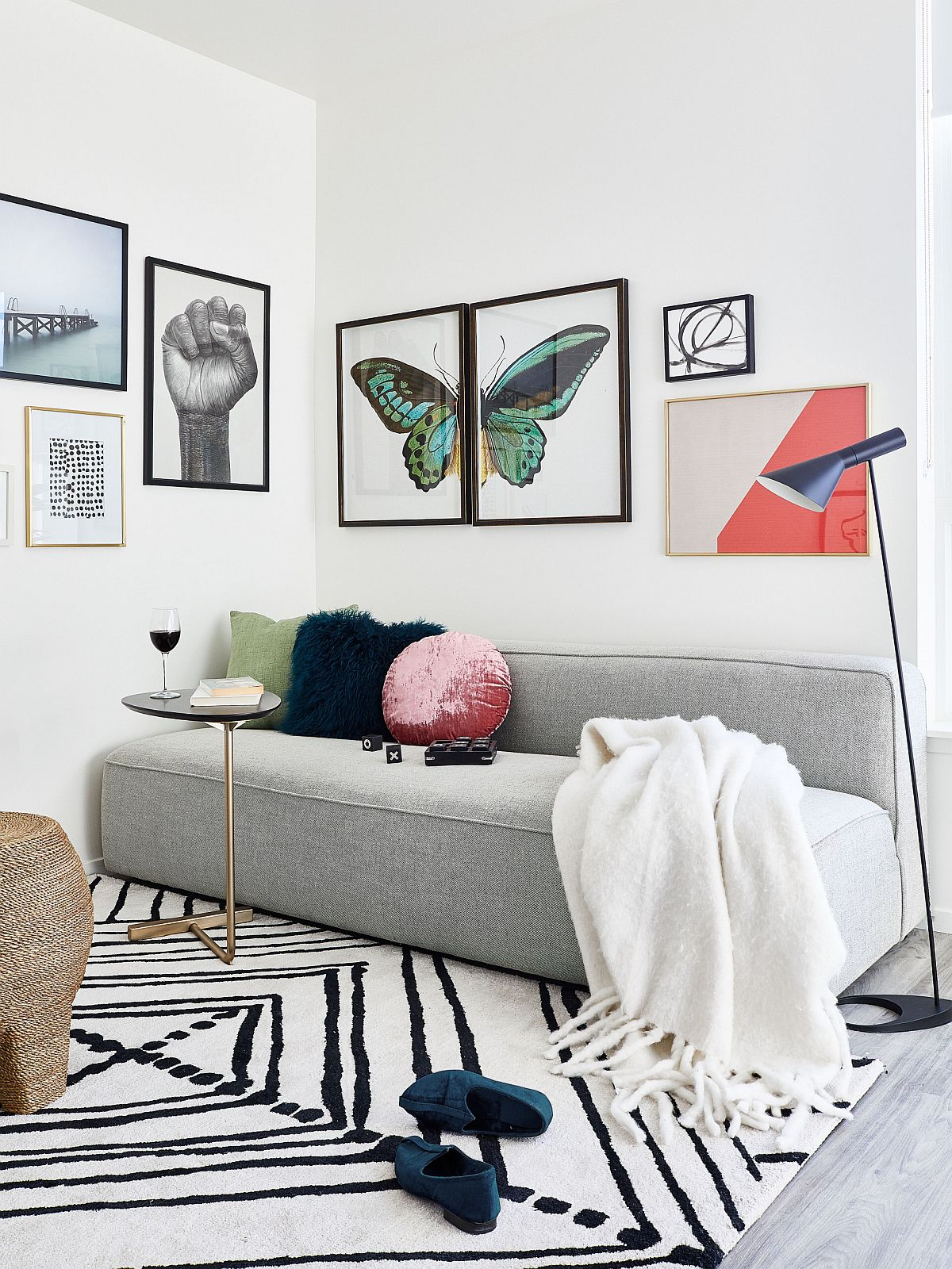 Snazzy rug adds pattern to this small living room without altering its color palette
