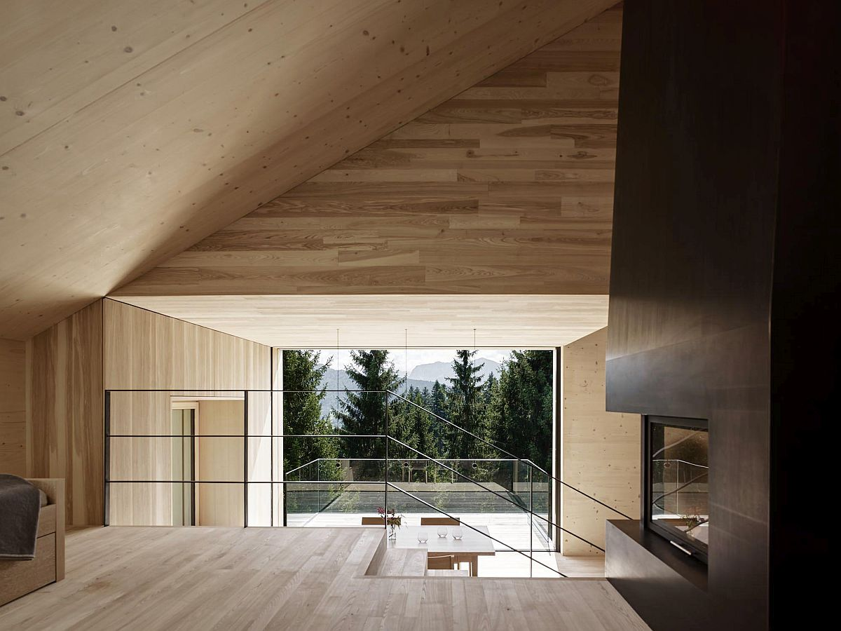 Split-level living area of the gorgeous holiday home in Austria with amazing views