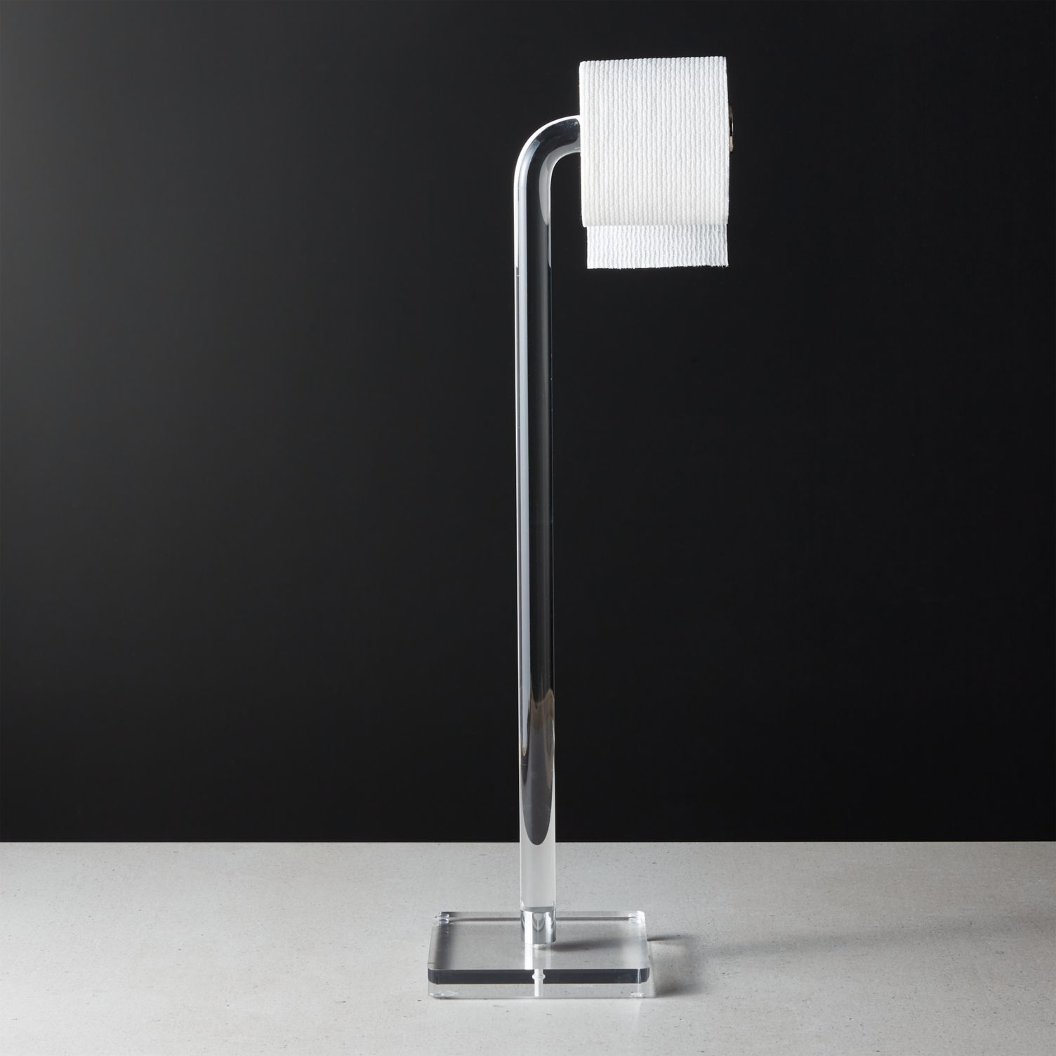 Standing acrylic toilet paper holder
