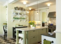 Subtle-use-of-lovely-yellow-and-green-accents-in-modern-cottage-style-kitchen-with-black-and-white-floor-83767-217x155