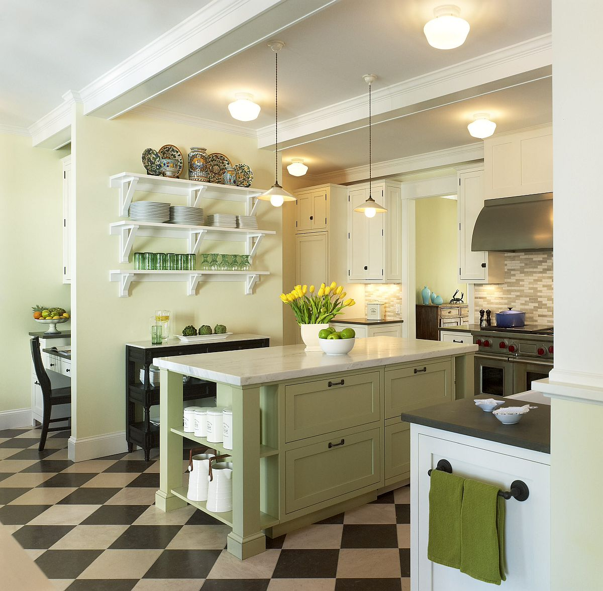 Subtle-use-of-lovely-yellow-and-green-accents-in-modern-cottage-style-kitchen-with-black-and-white-floor-83767