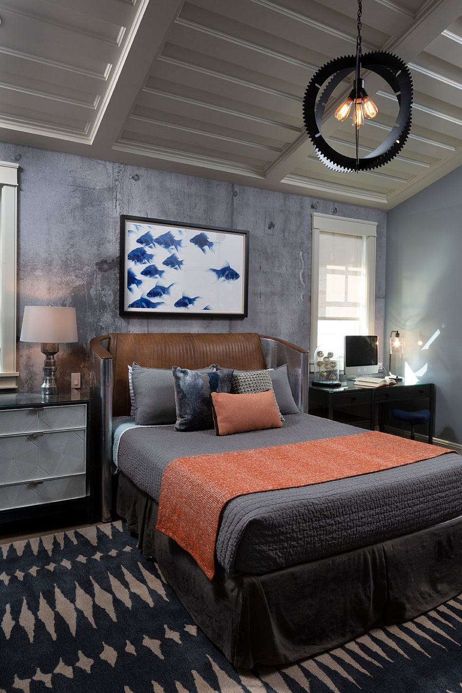 Teen boys' bedroom with modern industrial style