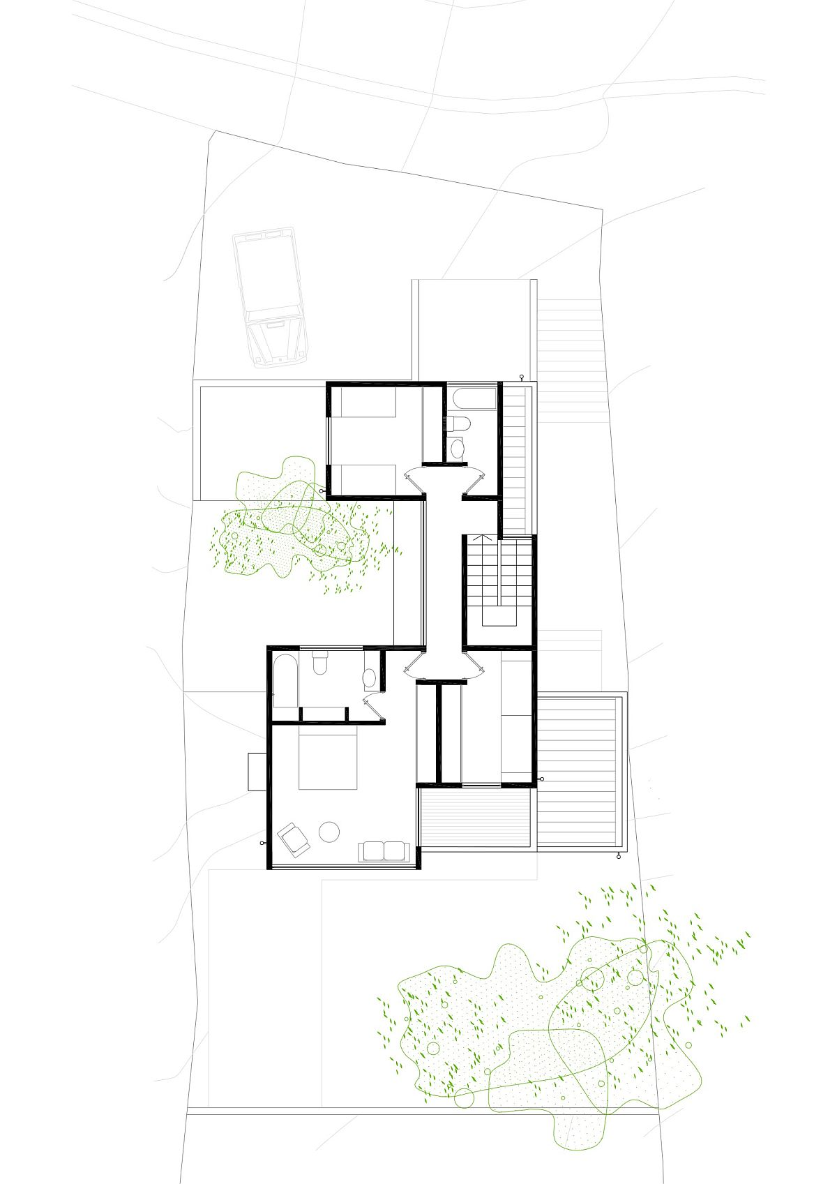 Upper level floor plan of Two Patios House