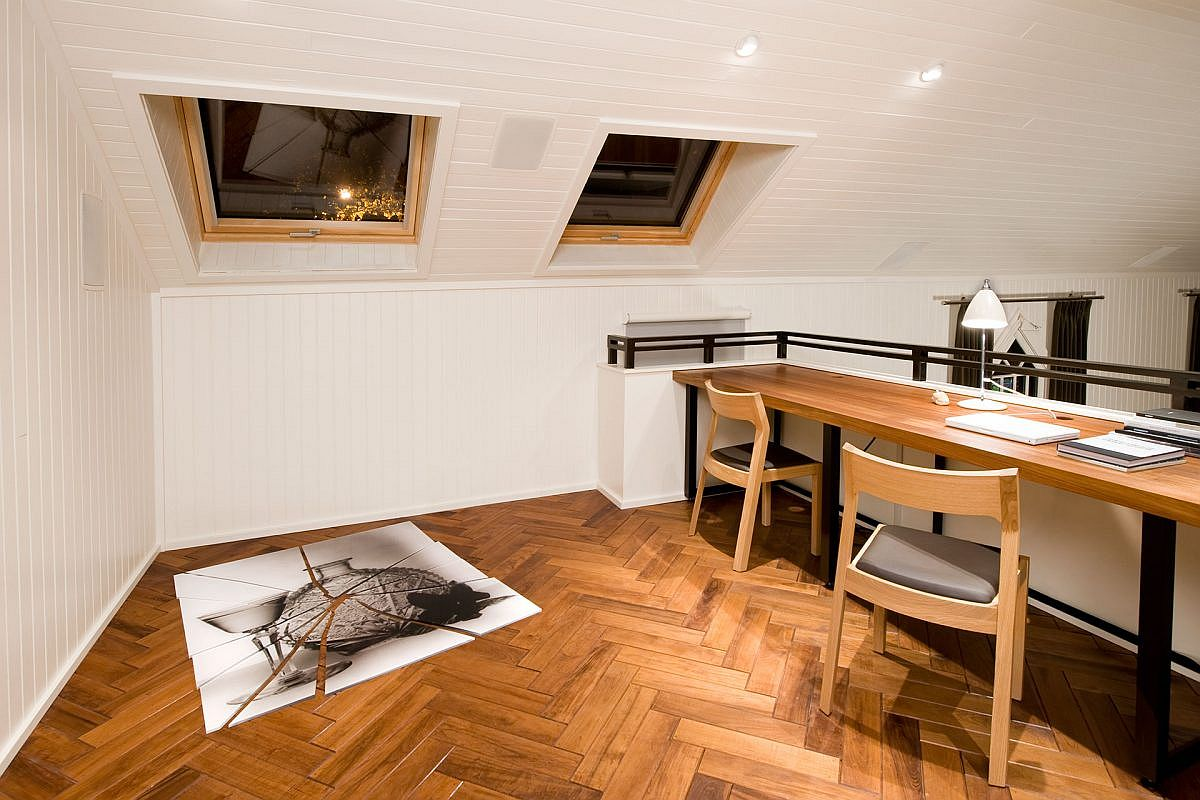 Upper level of the church transformed into a beautiful and spacious home workspace