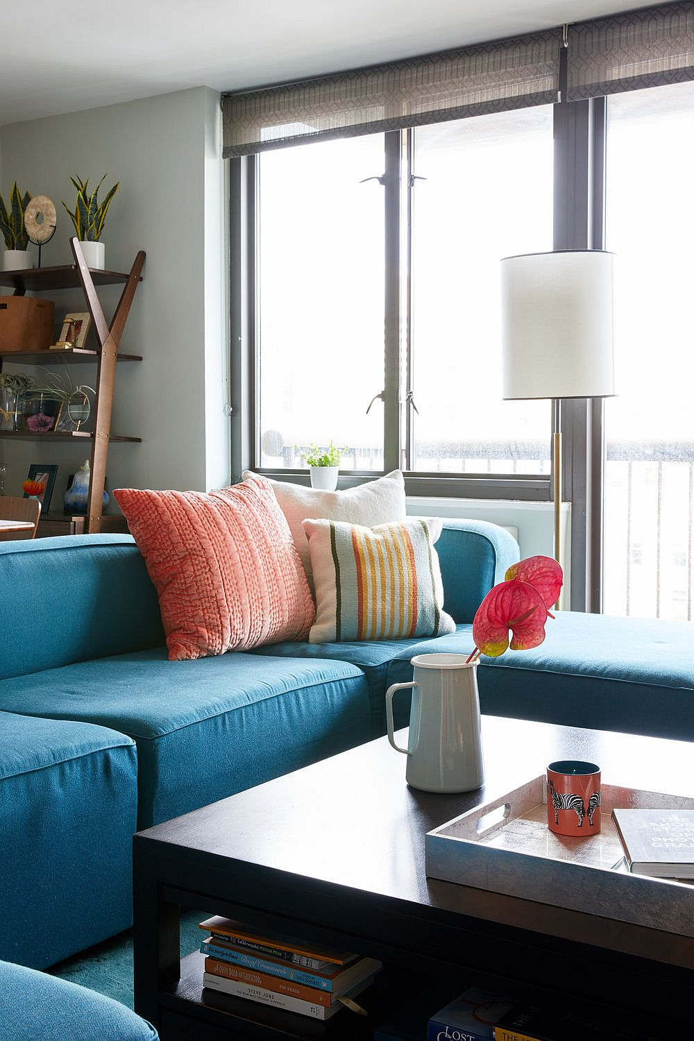 Use smart accent pillows along with a brightly colored couch for a more colorful contemporary living space