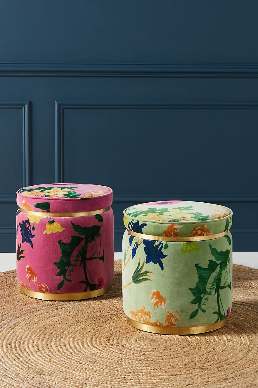 Velvet floral stools from Anthropologie