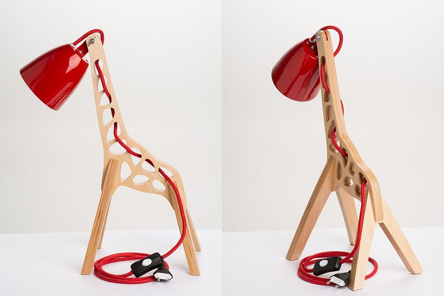 Wood and red make a lovely combination with this quirky table lamp