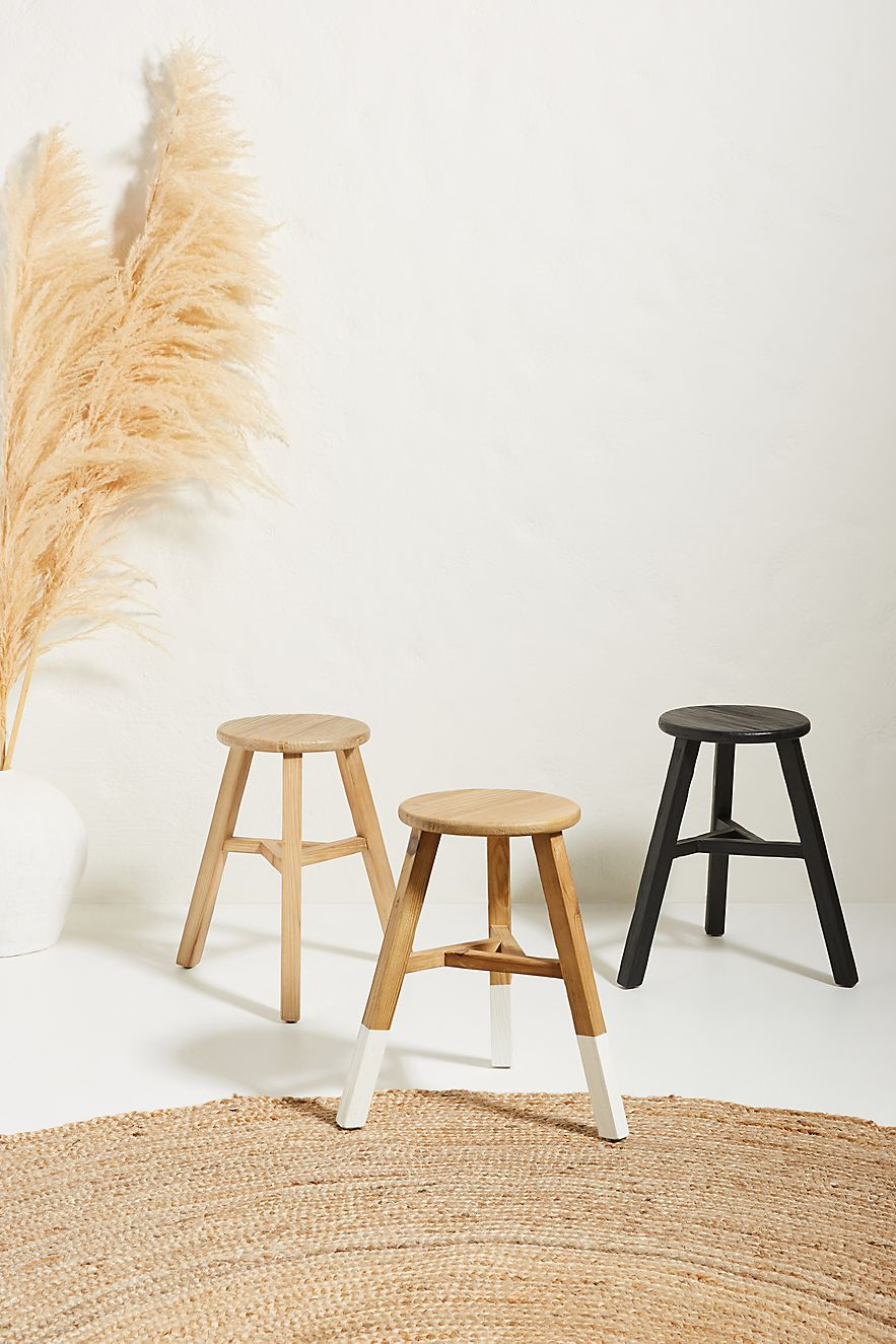 Wooden stools made from reclaimed pine