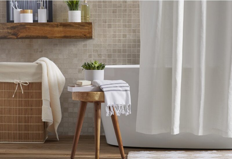 Wooden vvanity stool with a natural look