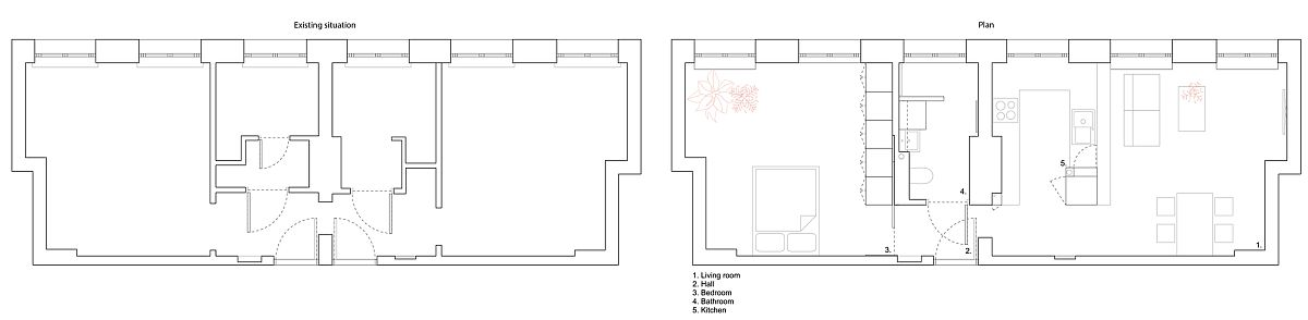 Before and after floor plan of the revamped 50's apartment