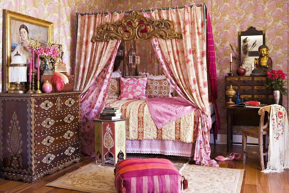 Bohemian bedroom in here sees shabby chic, eclectic and Asian influences being rolled into one