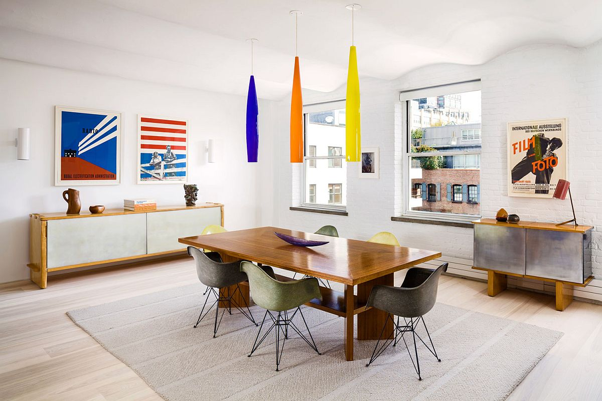 Brilliant use of colorful pendant lights in the modern industrial Manhattan loft