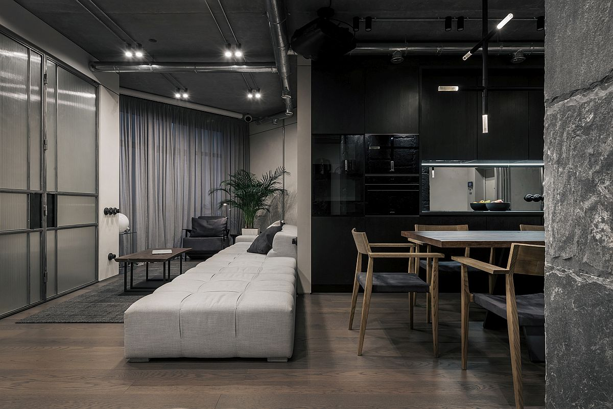 Captivating contemporary apartment in grays and black for an artist in Kyiv