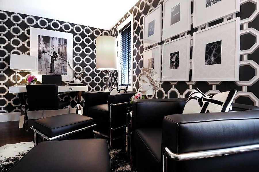 Classy modern black and white home office that veers more towards darker elements