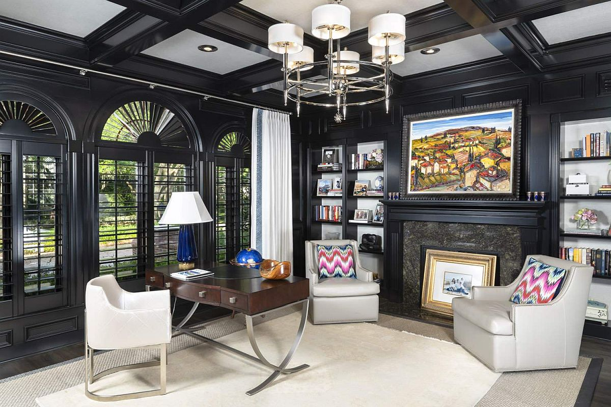Coffered ceiling with black wooden beams and classic black windows for the traditional home office