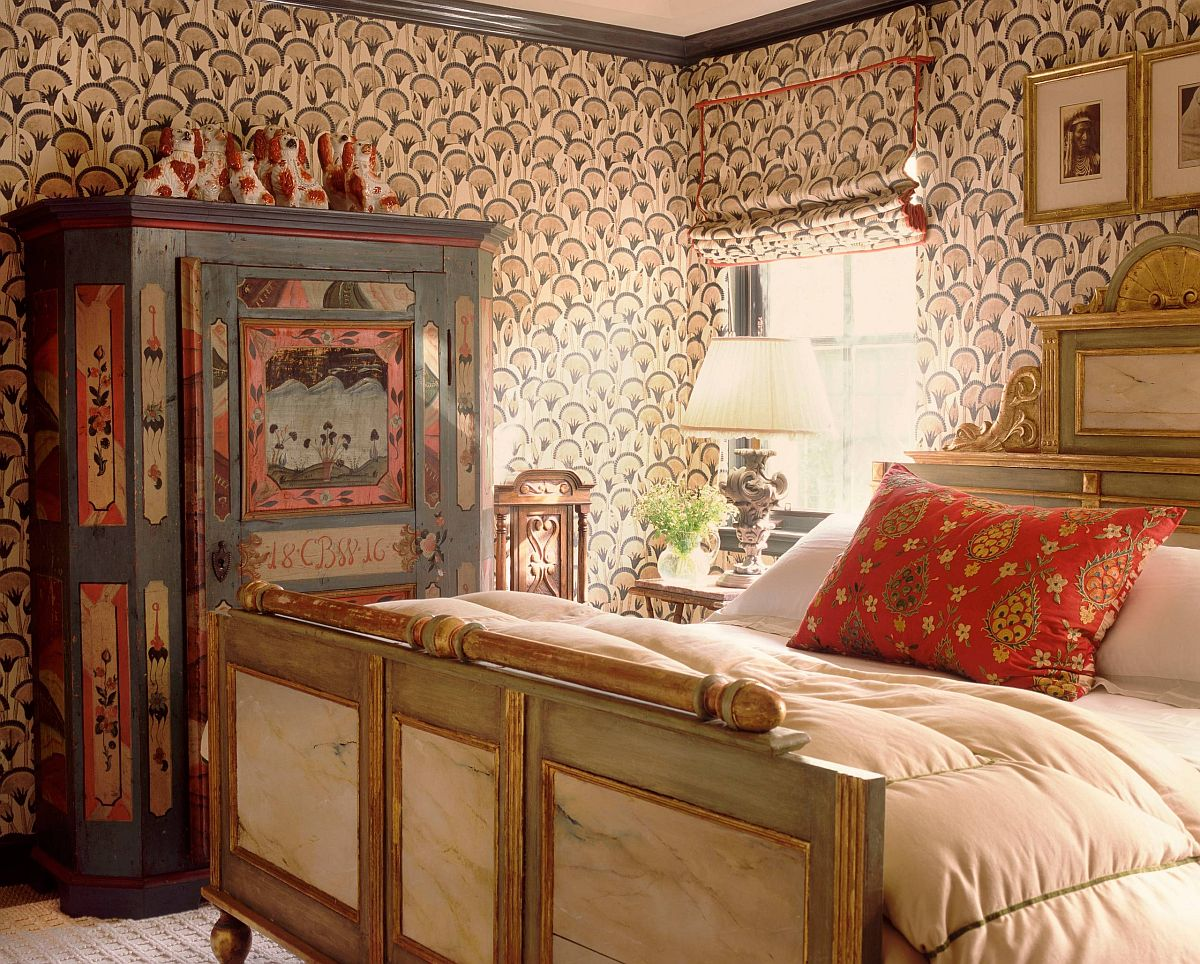 Colorful New York bedroom with vintage bohemian charm brought in by lovely decor and wall covering