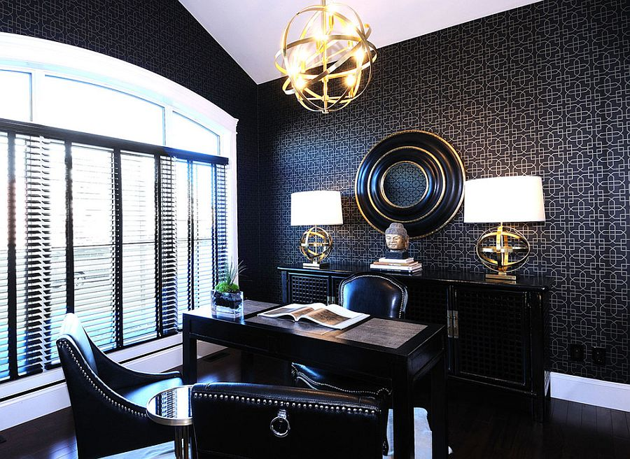 Curated use of metallic accents in gold look fabulous in the refined modern black home office