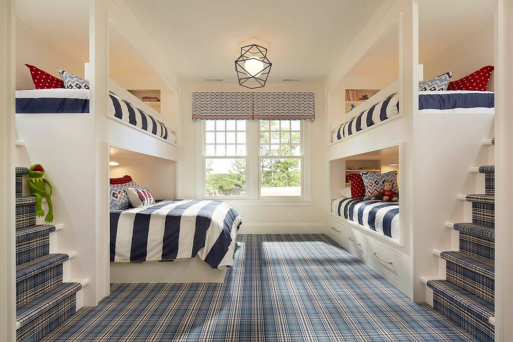 Dashing bedroom with bunk beds uses a plaid carpet that instantly grabs your attention