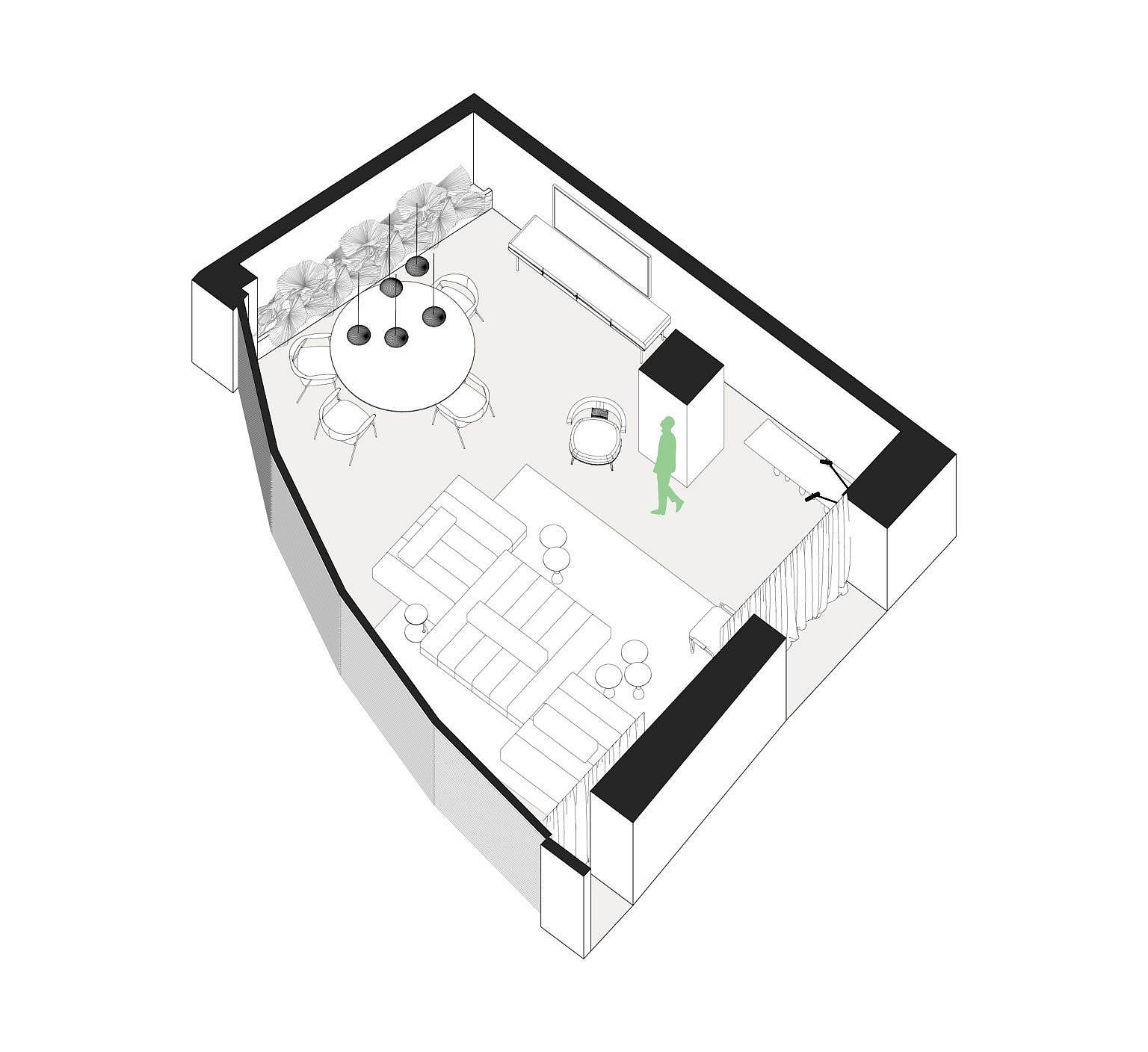 Design plan of modern apartment in Brazil