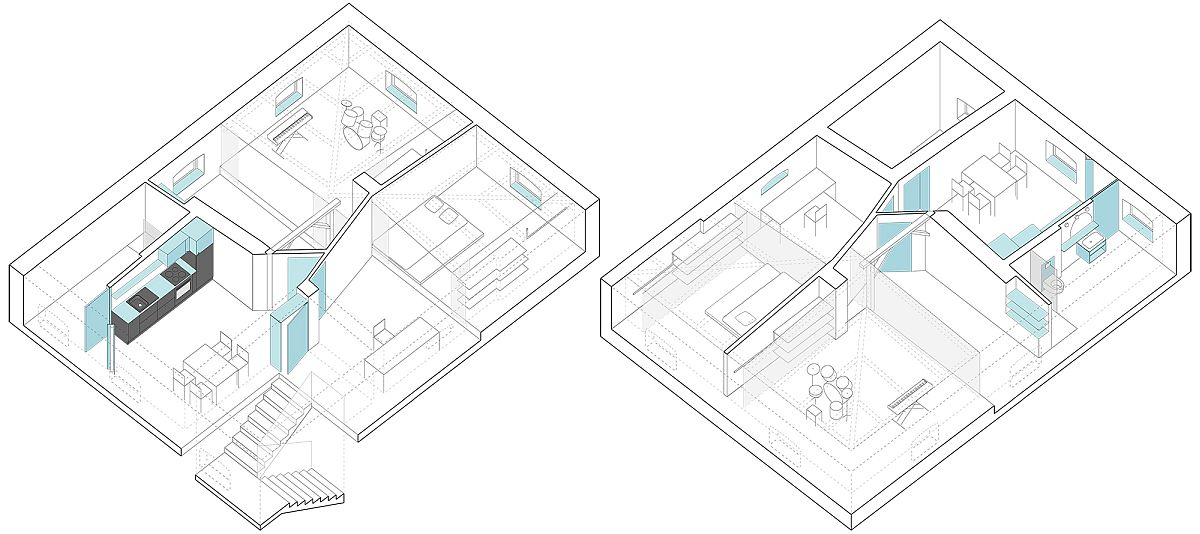 Design plan of modern attic apartment in Poznan
