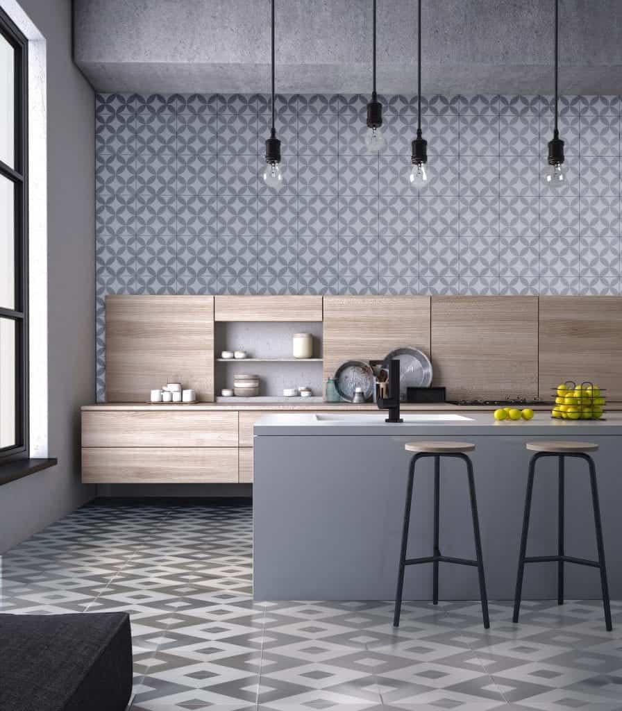 Diamond-pattern cement tile in a modern kitchen