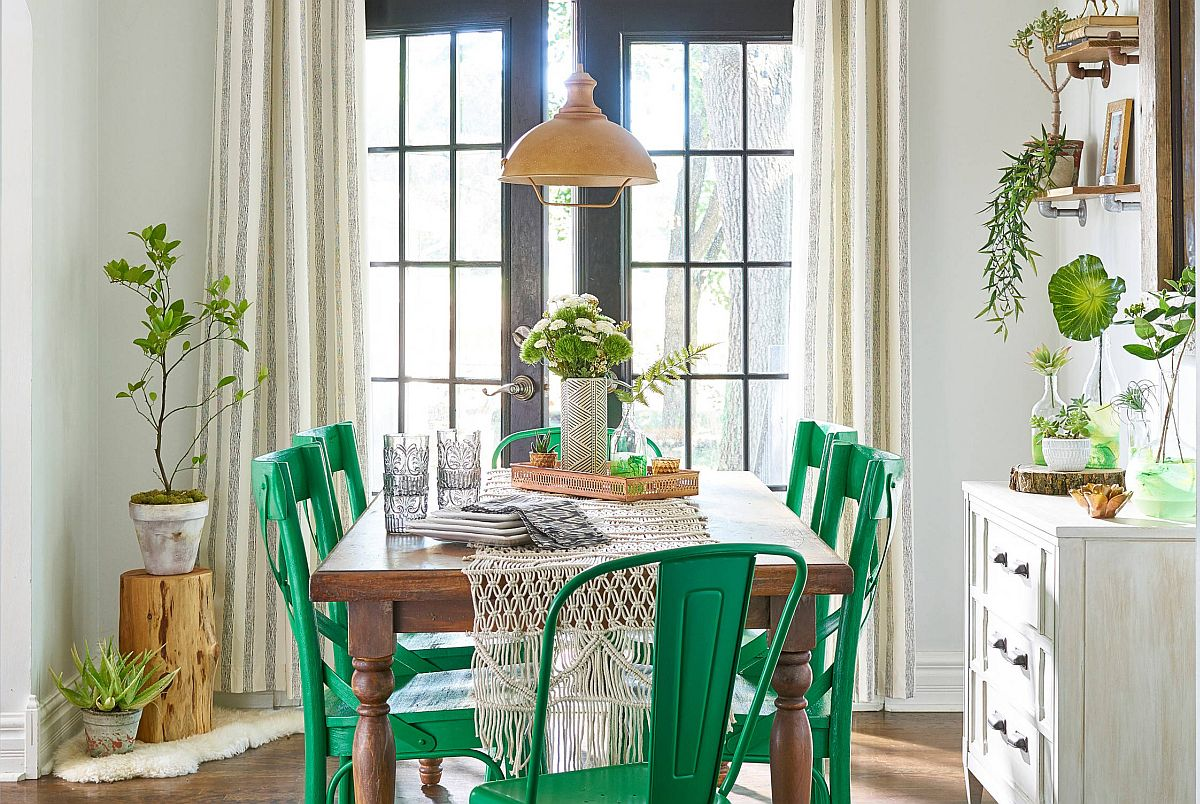 Dining table chairs in bright green add vivacious color to this shabby chic dining room