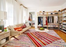 Eclectic-closet-with-rugs-that-add-pops-of-color-and-open-metallic-shelves-for-the-wardrobe-50790-217x155