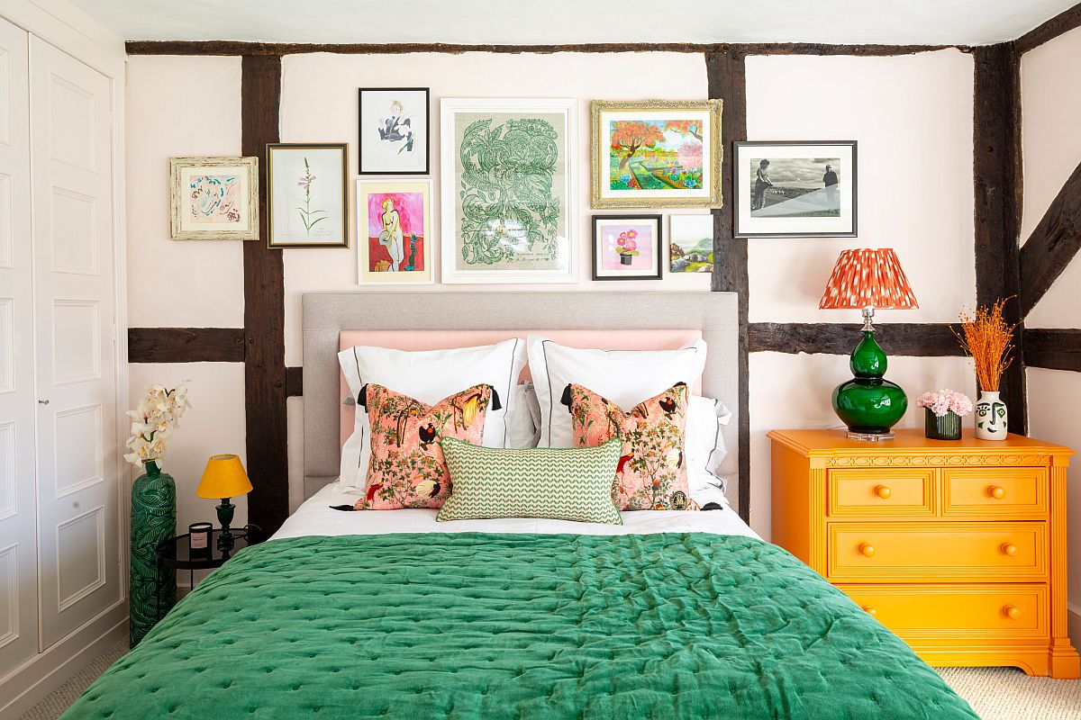 Eye-catching use of bright colors makes an instant impact inside this modern eclectic bedroom