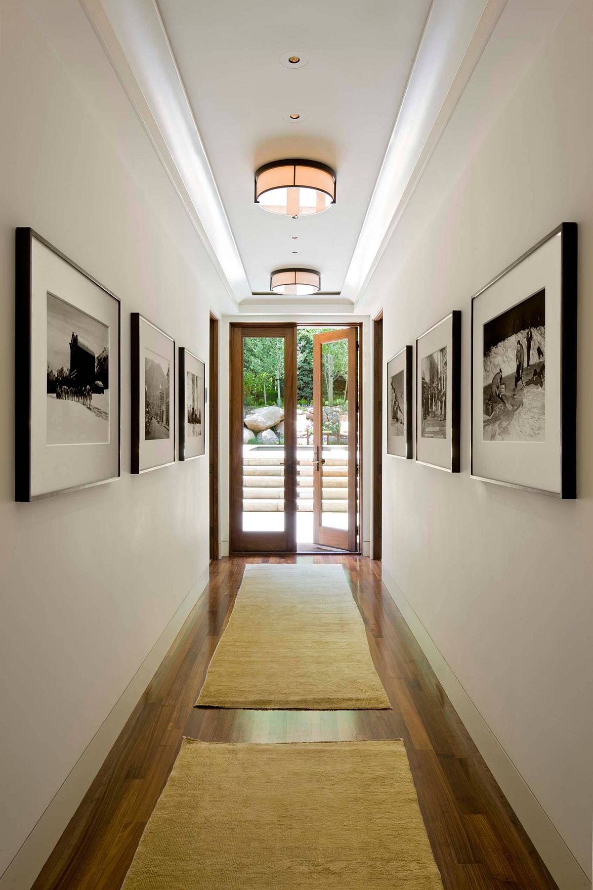 Gallery-styled wall art display for the hallway presents a picture of perfection
