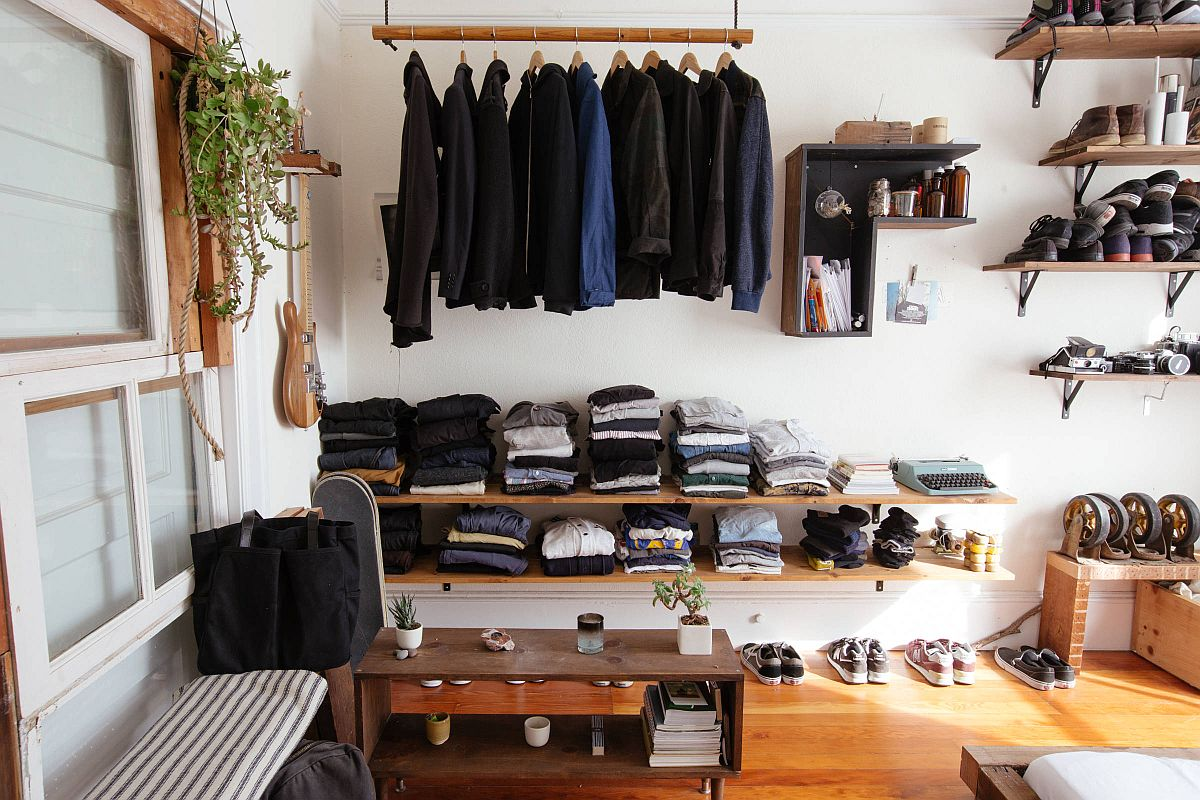 Homemade-shelves-for-the-eclectic-closet-of-a-guy-that-offer-plenty-of-space-for-coats-boots-and-more-31517