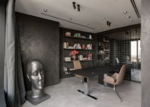 Inventive-contemporary-home-office-with-textured-walls-and-a-dark-desk-that-also-adds-to-the-color-scheme-72605-217x155