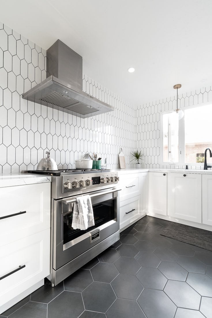 Kitchen reveal with black hexagonal floor tile