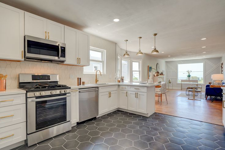 Kitchen with hexagonal tile from Tilebar