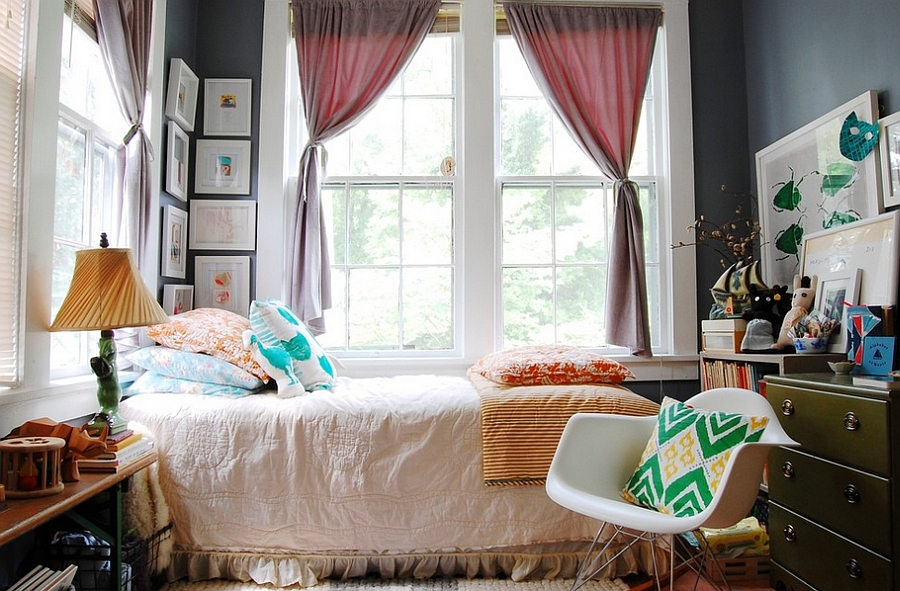 Mid-century modern meets eclectic inside this small, light-filled bedroom