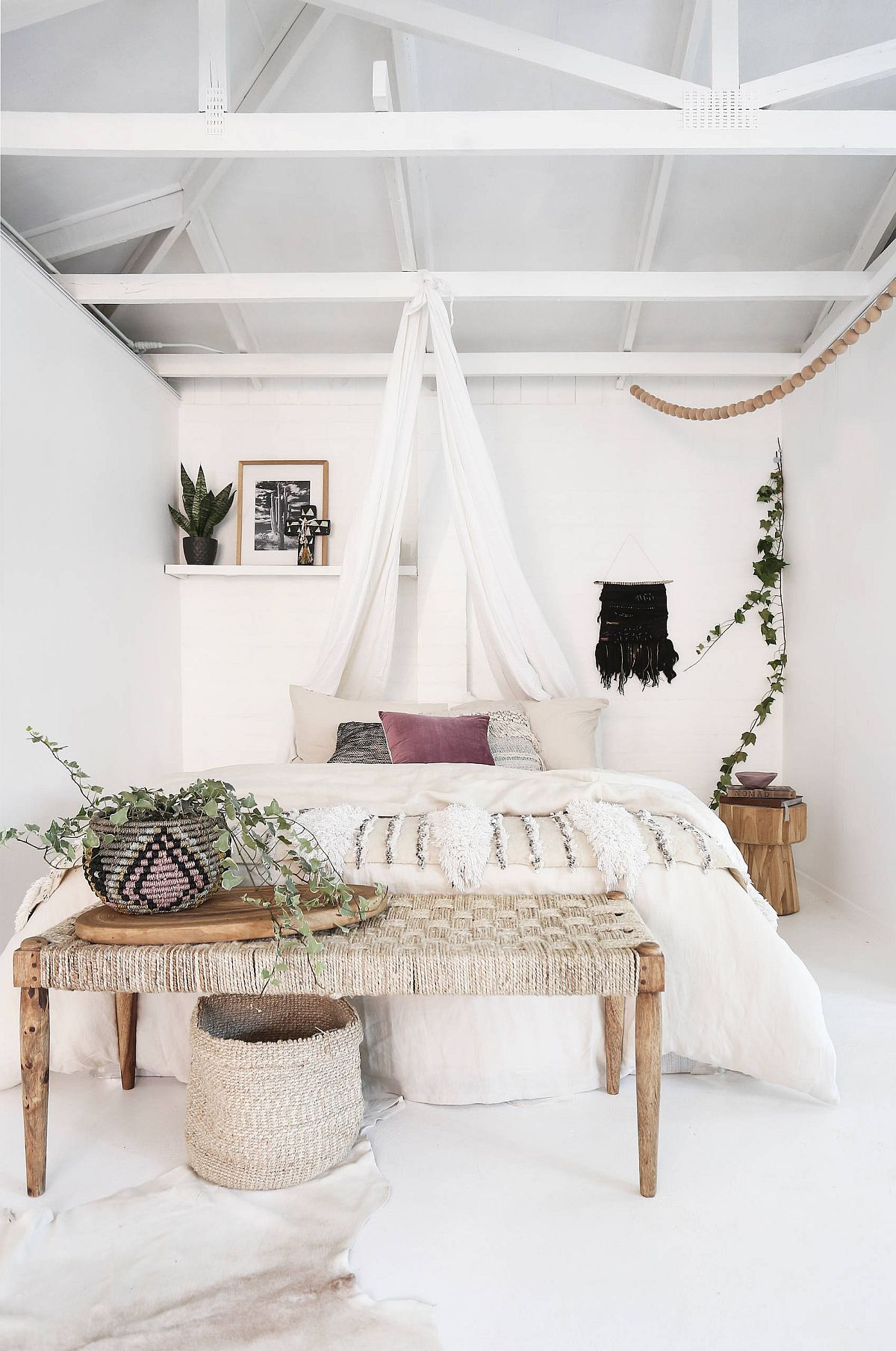 Mix a bit of beach style with bohemian touches for a more curated backdrop