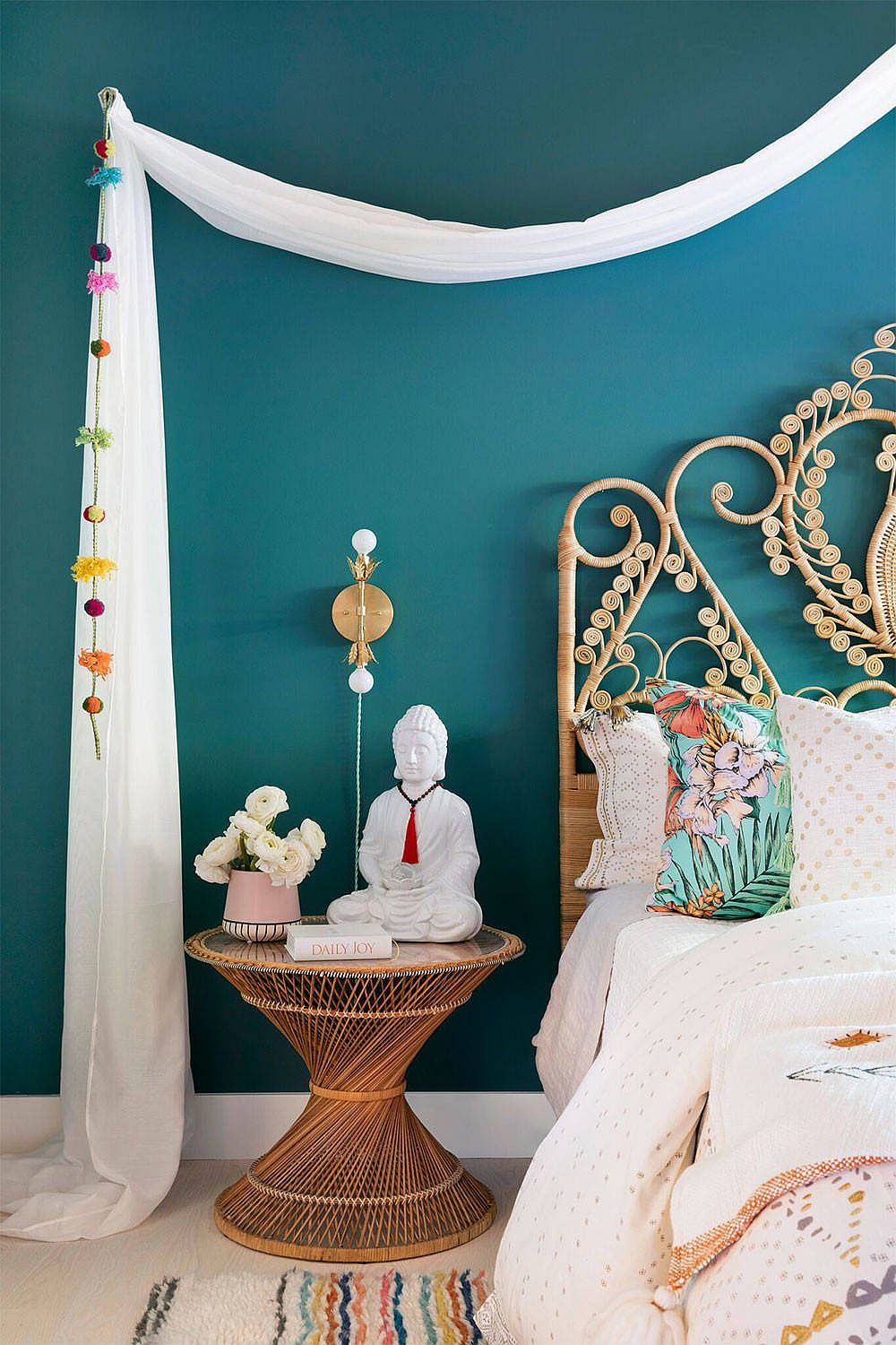 Modern bohemian bedroom with Asian influences and a relaxing color palette