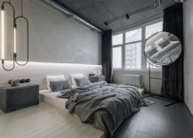 Modern-industrial-bedroom-has-a-monochromatic-black-and-white-look-along-with-innovaive-lighting-90192-217x155