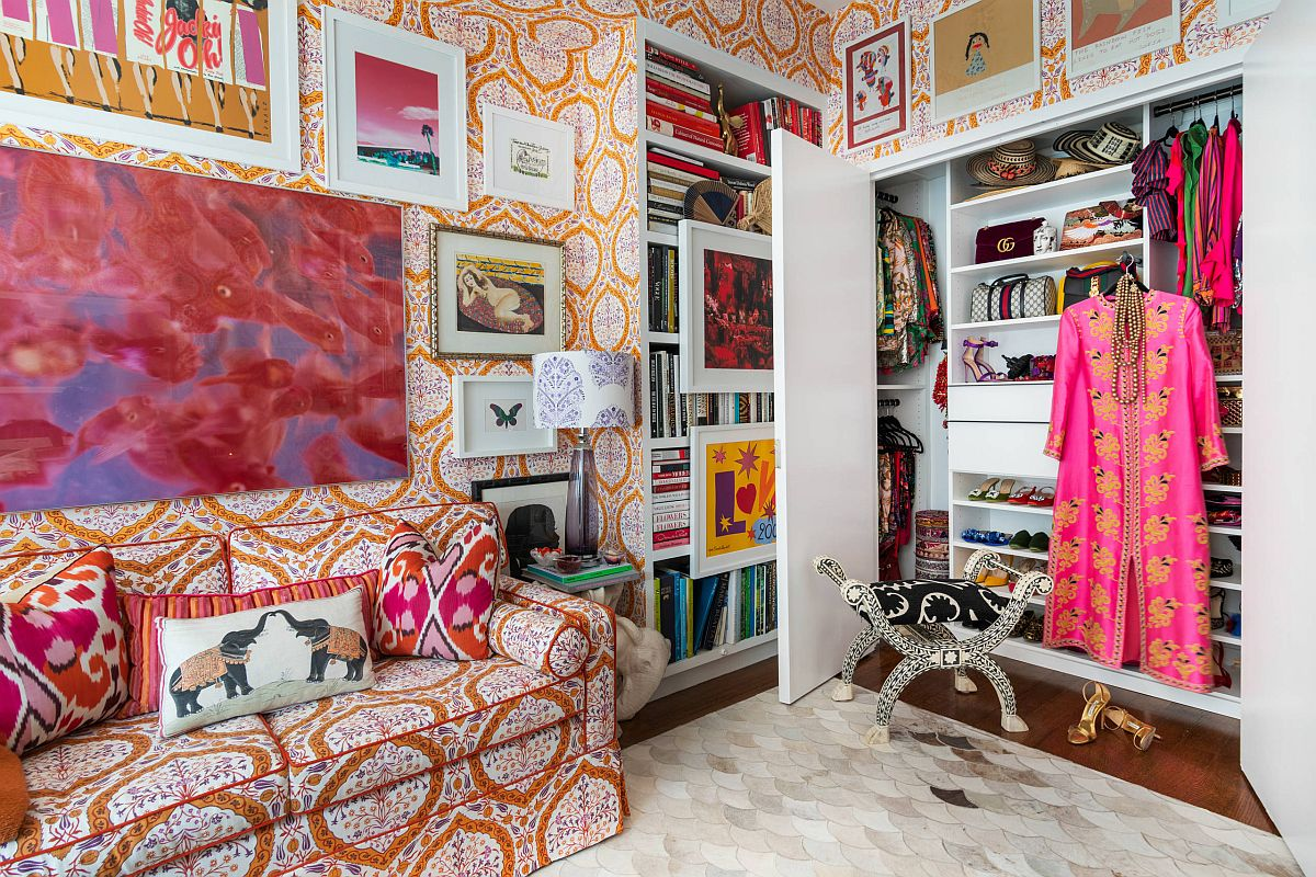 Multi-colored walls and decor add to the brilliant appeal of this small eclectic closet that still captivates