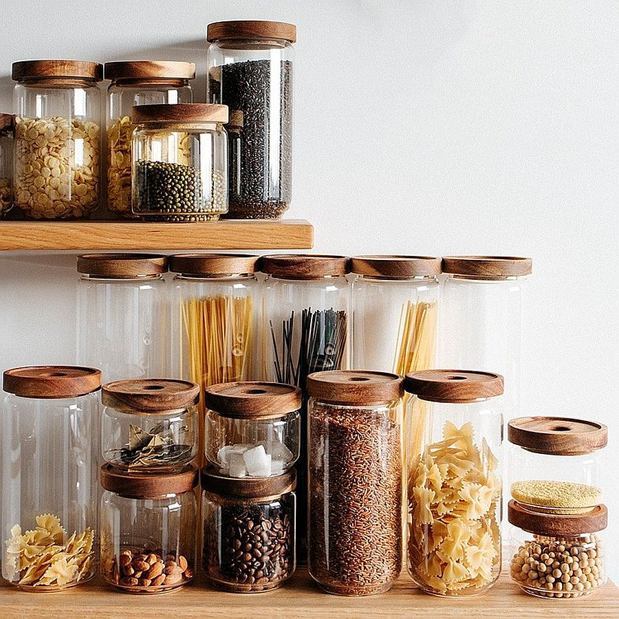 Replace cardboard and plastic boxes with glass and plastic jars