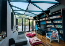 Small-contemporary-home-library-with-glass-roof-blue-walls-and-innvotaive-design-17403-217x155