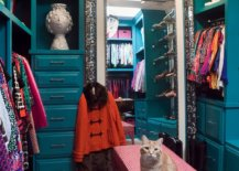 Small-eclectic-womens-carpeted-dressing-room-with-blue-cabinets-and-a-painted-pink-desk-21979-217x155