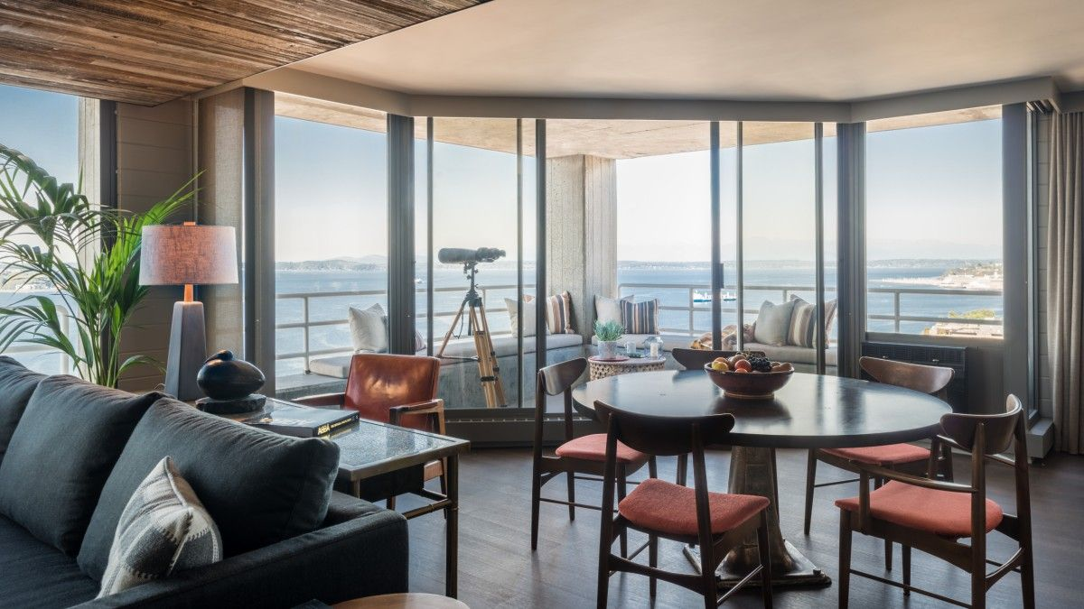 Spectacular views of downtown Seattle to the Olympic Peninsula from the modern apartment