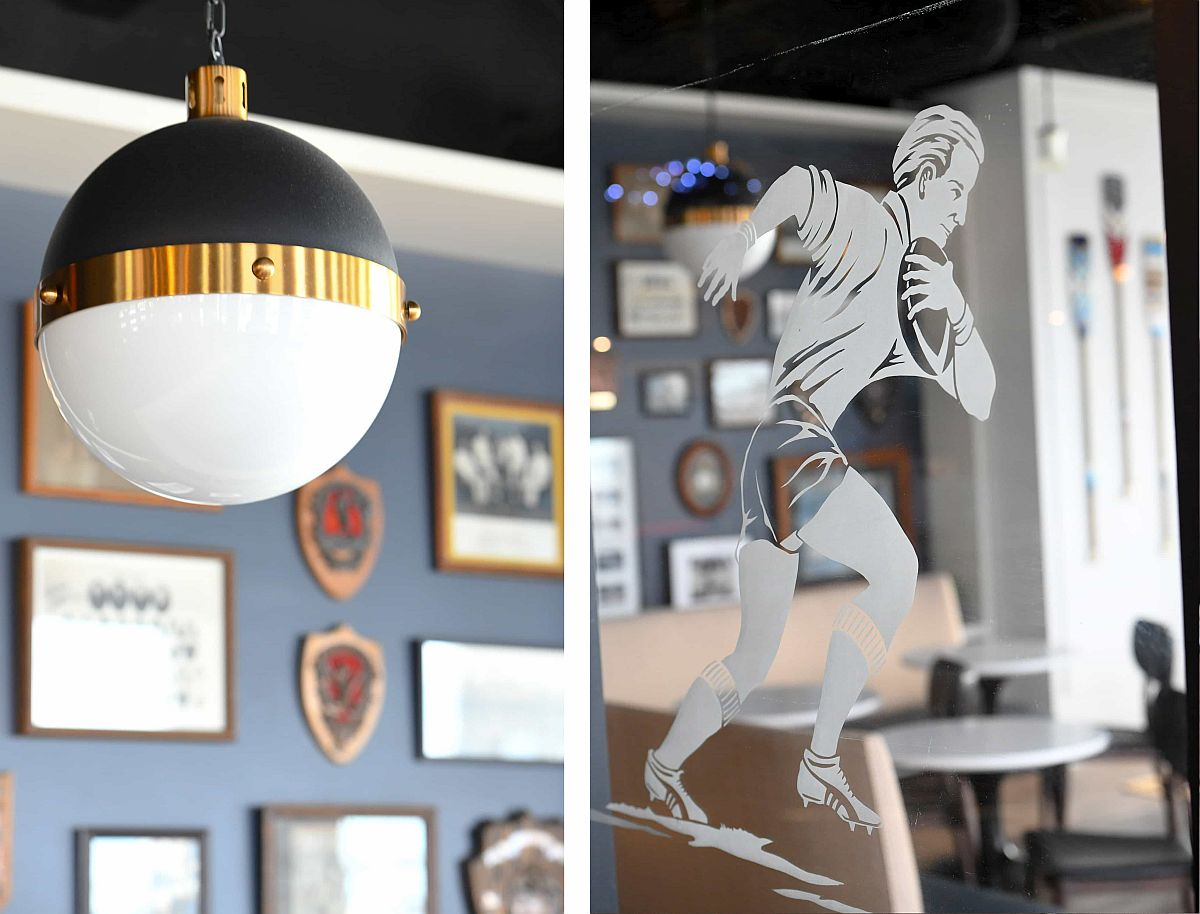 Traditional lighting and sports-themed motifs for the member's lounge in Toronto