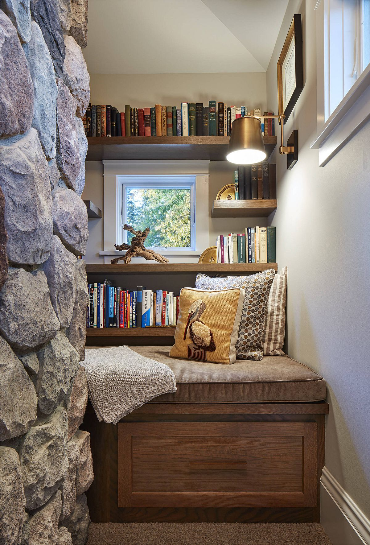 Modern Home Library Ideas: Small Contemporary Home Library Ideas Filled With Color