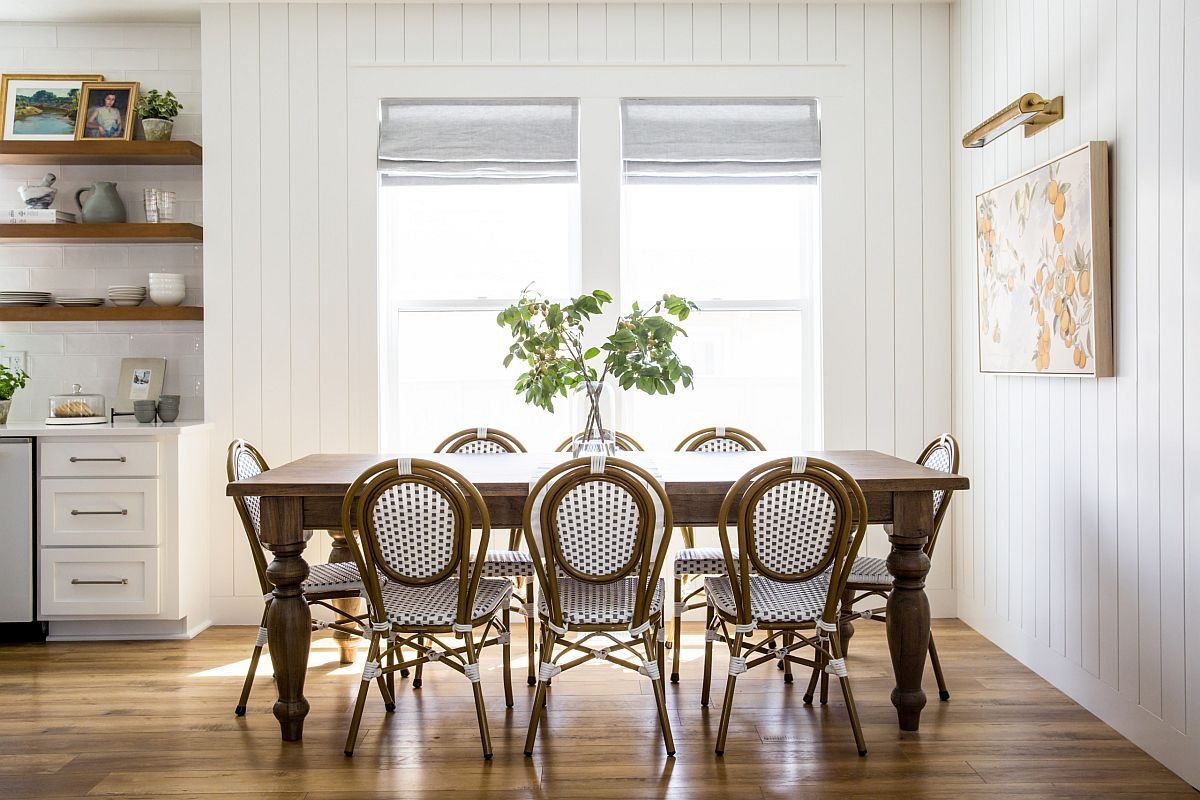 White and wood is the perfect color palette for the stylish shabby chic dining room