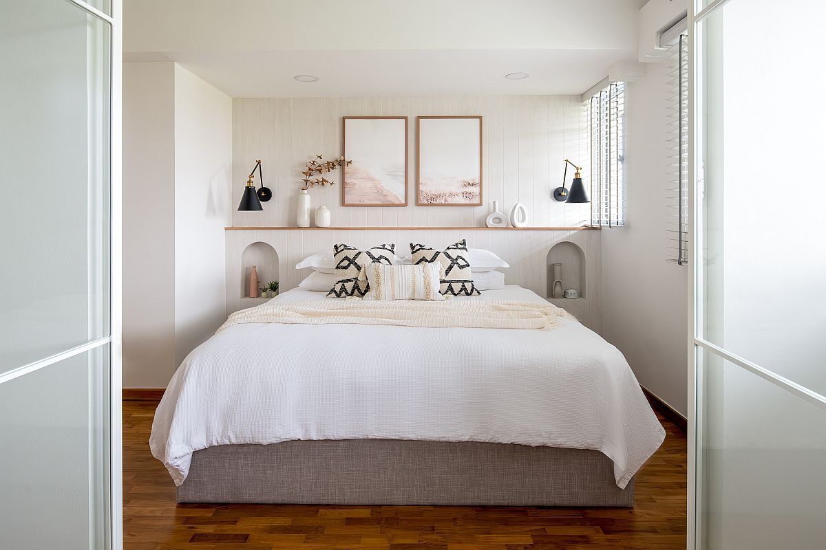 Wooden floor along with white walls creates a beautiful modern Scandinavian bedroom