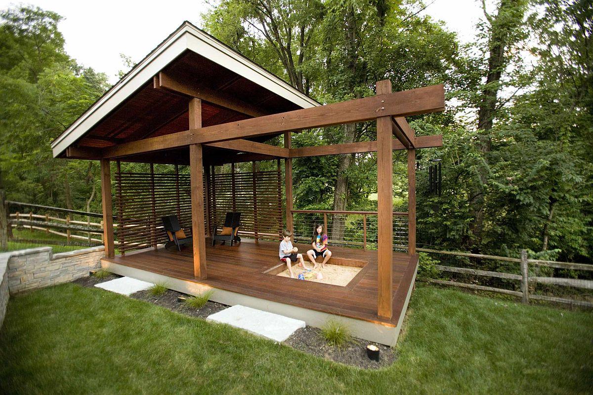 Add a sandbox to the backyard deck to make it far more fun!